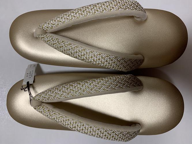 草履 ぞうり ゴールドの台に組の花緒(Mサイズ)