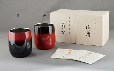 【写真奥 赤色1客】伝統工芸士作手塗り漆磨カップ二重ダルマ赤彩1客