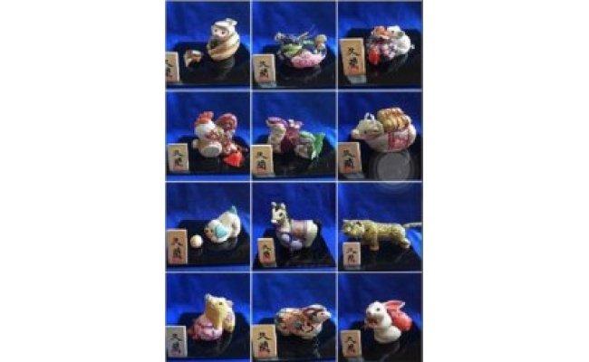 久月木目込人形正教授 室井久蘭作 結城紬十二支木目込人形【丑】