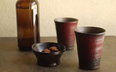 <工房ととか・菊地克典・智子共作>陶胎漆器 ビアタンブラー2個セット