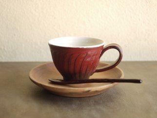 <工房ととか・菊地克典・智子共作>コーヒーカップ&ソーサー(スプーン付)1客