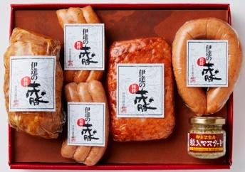 D7042-C赤豚焼豚・ソーセージ詰合せ【19000pt】