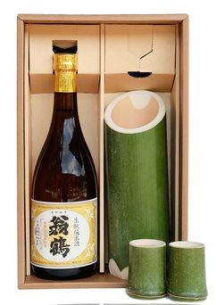 翁鶴生?純米酒と竹筒とぐい飲みセット