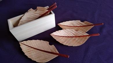 木の葉の銘々皿 桧箱入り5枚セット トチ(栃)
