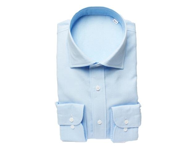 【三豊肌衣】ドレスシャツサックスセミワイドMサイズ