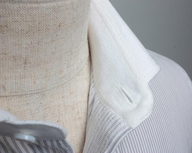 【三豊肌衣】ドレスシャツグレークレリックセミワイドMサイズ