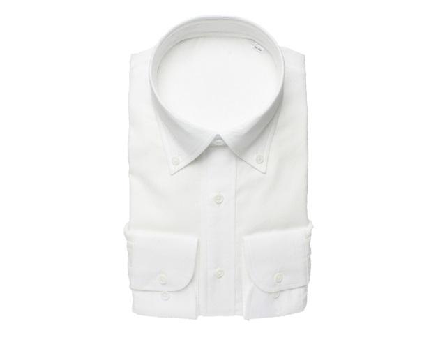 【三豊肌衣】ドレスシャツホワイトボタンダウンSサイズ