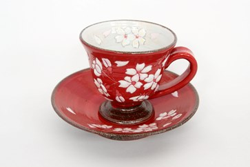 【受付一時停止】桜模様カップ&ソーサ(赤)1組
