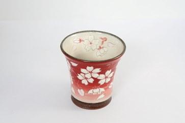 【受付一時停止】桜模様フリーグラス(赤)