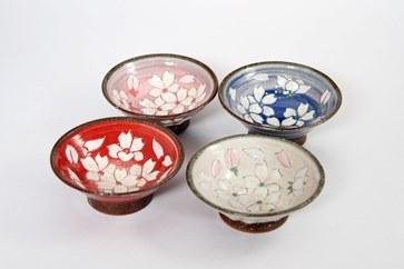 【受付一時停止】桜模様盃4色セット(赤・ピンク・白・青)