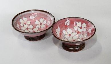 桜模様盃ペア(ピンク)