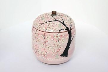 【受注生産】桜模様御霊壺ピンク(お骨入れ)