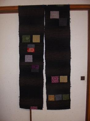 世界に1点 手織りの裂き織りのれん