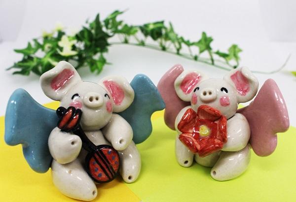 ☆沖縄豚伝説☆ペア飛豚(とんとん)陶置物