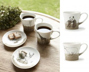 【miyama.】(パンダ×シロクマ)食卓が動物園に!可愛い美濃焼のマグカップ