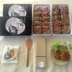 宮島ぶちえ~もん 5点セット(もみじ饅頭2箱、牡蠣まるごとせんべい2箱、杓子1個)