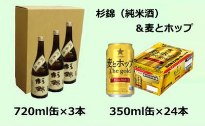 403-056-C焼津産麦とホップ・Thegold350ml×1箱+杉錦純米酒3本