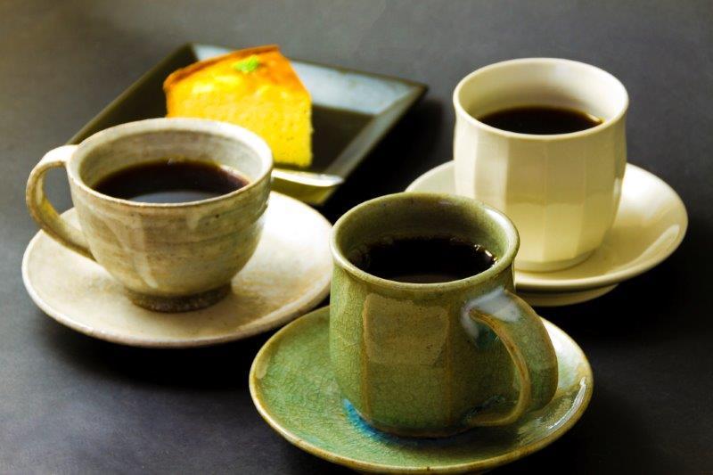 阿蘇窯陶器セット「阿蘇青々窯」コーヒー碗3客