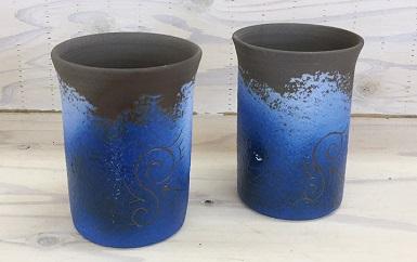 陶器 ペアビアカップ(ブルー)