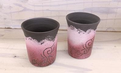 陶器 ペアビアカップ(ピンク)