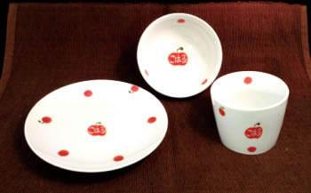 【受付一時休止】水玉フルーツ茶碗・カップ・お皿の3点セット(子ども用)