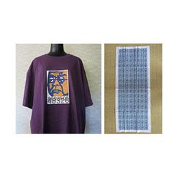 北里柴三郎Tシャツ(マットパープル/Mサイズ)・手ぬぐいセット(北里柴三郎記念館限定商品)