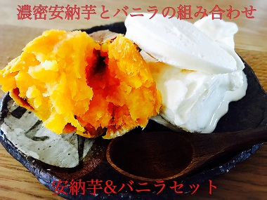 もっちりほくほく極密安納芋の焼き芋【1kg×3袋】とバニラアイス【6個】セット