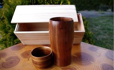 都城杉焼酎グラスセット(木箱入り)