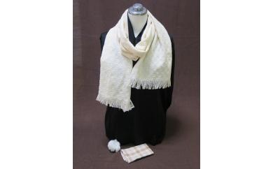 綿畑からそのまま肌に安全、洗えるマフラー(白・中)+ハンカチ(白)1枚