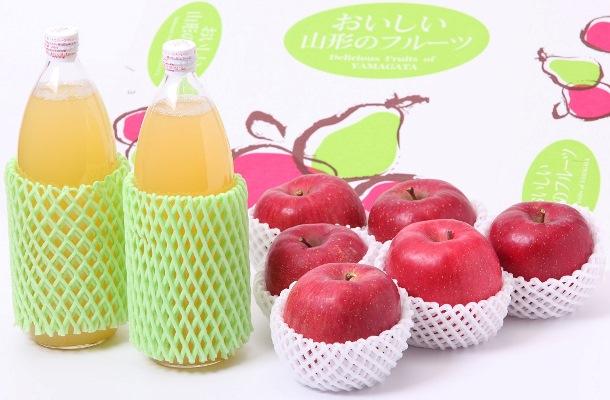 AP28 山形県産サンふじりんごシリーズパート1「りんご&りんごジュースセット」