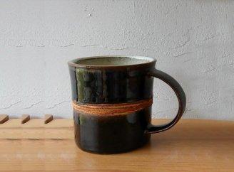 風唄窯 ライン入りマグカップ深緑