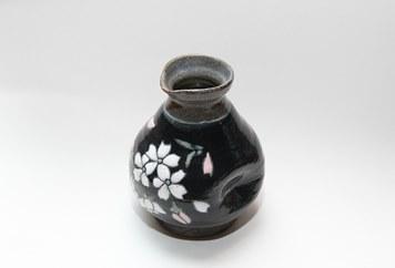 【受注生産】盛付桜とっくり(黒)