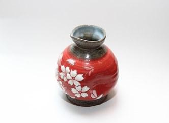 【受付一時停止】【受注生産】盛付桜とっくり(赤)