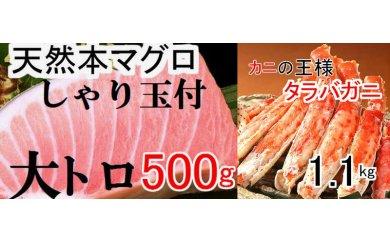 寿司♪カニ♪天然本マグロ大トロ500g(しゃり玉付)&カニの王様タラバガニ1.1kg