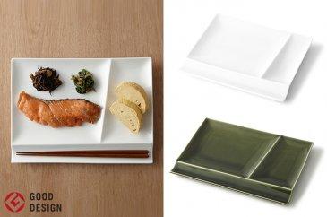 グッドデザイン賞受賞!お箸が置ける仕切り皿2枚組(白×織部)