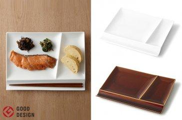 グッドデザイン賞受賞!【miyama.】お箸が置ける仕切り皿2枚組(白×飴釉)