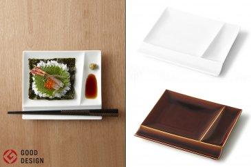 グッドデザイン賞受賞!【miyama.】お箸が置ける仕切り取皿4枚組(白磁×飴釉各2枚)