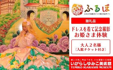BY10【体験】いがらしゆみこ美術館で憧れのお姫さまドレスを着て撮影をする「お姫さま体験(入館チケット付き)」※大人2名様