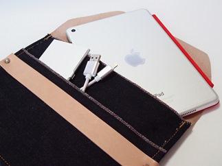 CA02【刻印なし】児島デニム×本革タブレットスリーブ(iPadmini・タブレット対応)
