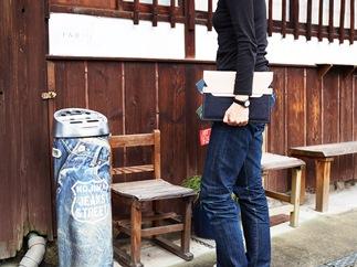 CA04【刻印なし】児島デニム×本革タブレットスリーブ(iPad/iPadPro・タブレット対応)