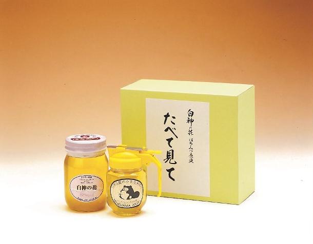 T008【着日指定可】白神山地の純粋なアカシアのハチミツ「たべて見て」(箱入り2本720g)【20000pt】