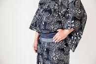 【男性用】琉球紅型の型紙デザインから生まれたモノトーン浴衣「琉球鯔背」