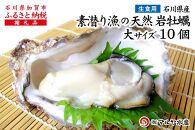 【加賀市・橋立港産】素潜り漁の天然岩かき[生食用/殻付き]大サイズ×10個