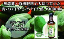 無農薬・有機肥料で大切に育てたパパイヤ(2-3玉1.5㌔前後)とパパイヤ酢300mlのセット