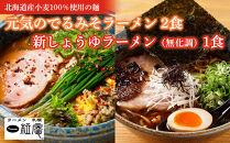 ラーメン札幌一粒庵:元気のでるみそラーメン2食+新しょうゆラーメン(無化調)1食 お土産生麺(3食エコ包装)