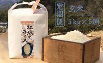 【定期便・全5回】かきがらライスプレミアムコシヒカリorヒノヒカリ玄米5kgx5回