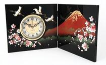 屏風時計富士に桜(木製・カシュー漆塗)【紀州漆器】
