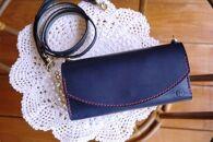 【ギフト用】【職人手縫いの本革製品】miniショルダー(ネイビー)