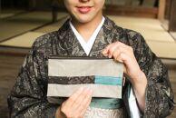 布フェチが作る紬の通帳ケース(グレー)
