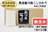 【無洗米】魚沼産川西こしひかり1合×30袋 新潟県認証特別栽培米 令和2年度米